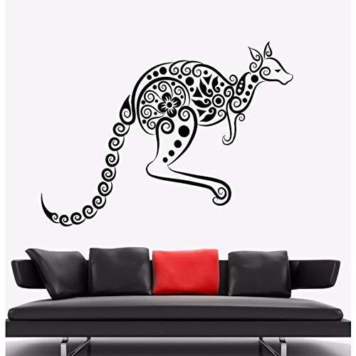Lovemq Känguru Wandaufkleber Tier Vinyl Wandtattoo Australien Ornament Wand Kunst Wandhaupt Wohnzimmer Dekor Känguru Vinyl Kunst 57X42 Cm