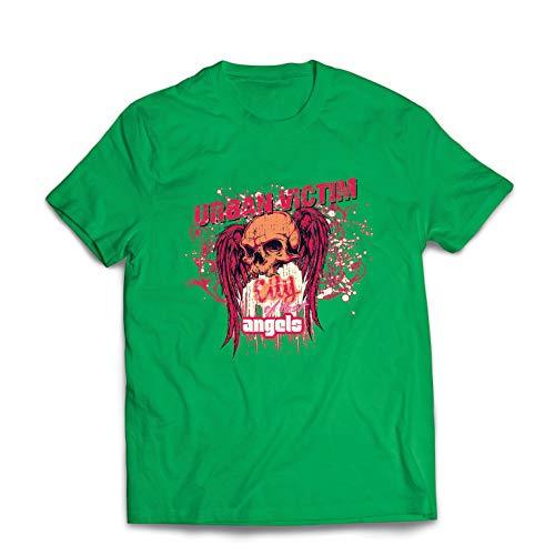 lepni.me Maglietta da Uomo Urban Victim, City of Lost Angels Cranio (XXX-Large Verde Multicolore)