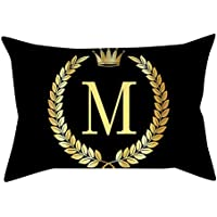 Yolmook Pillow Cover Black and Gold Letter Pillowcase Sofa Cushion Cover Home Decor(Multicolor,30 cm x 50 cm)