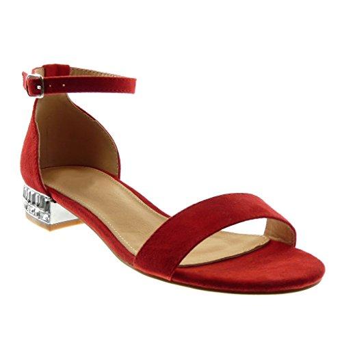 rosso 39 EU Angkorly Scarpe Moda Sandali con Cinturino Alla Caviglia Donna xvh