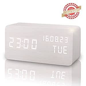 Wooden LED Digital Alarm Clock, Displays Time Date Week And Temperature, Cube Wood-shaped Sound Control Desk Alarm Clock for Kid, Home, Office, Daily Life, Heavy Sleepers (White) by Leeron