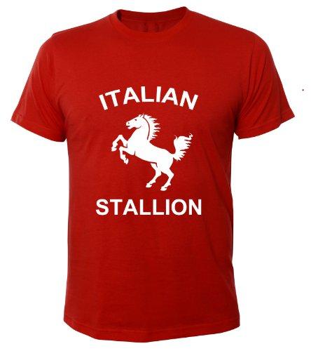 Mister Merchandise Cooles Herren T-Shirt Italian Stallion Stallone Rocky cult Kult , Größe: L, Farbe: Rot