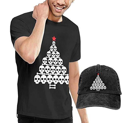Henrnt T-Shirts Herren, Skull Christmas Tree Shirts Short Sleeve Denim Hats