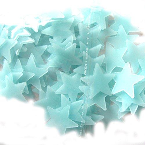Longra 100PC Kinder-Schlafzimmer fluoreszierend Leuchten im Dunkeln Sterne Wandaufkleber (B)
