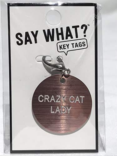 About Face Designs Schlüsselanhänger Crazy Cat Lady, 3,8 cm Durchmesser, pfirsichfarben