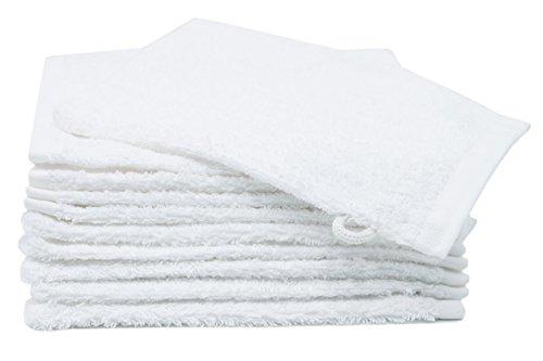 """ZOLLNER® Juego de 10 manoplas de baño / guantes de ducha de rizo 16x21 cm, 100% algodón, blanco, con trabilla para colgar, del especialista en textiles para hostelería y gastronomía, serie """"Amalfi"""""""