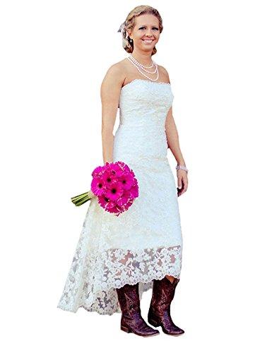 O.D.W Frauen Appliques Spitze Hochzeitskleider Kurze Vintage Brautkleider (Weisse 1, 32)
