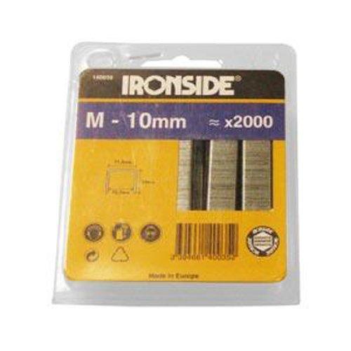 Ironside 140035 Agrafes industrielles Type M 10 mm 2000 pièces