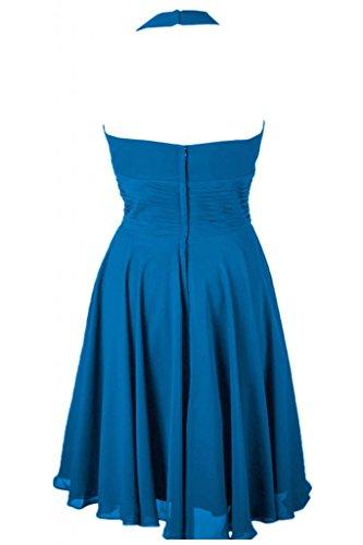 Sunvary Liebling Neckholder Abendkleider Kurz Chiffon Cocktailkleider Brautjungfernkleider Partykleider Blau