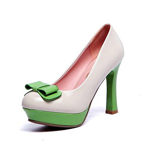 AgooLar Damen Ziehen Auf Hoher Absatz Pu Leder Gemischte Farbe Pumps Schuhe mit Schleife Weiß