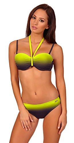 aQuarilla Damen Bikini Set Bahama (Graphite/Lemon, 40) (Soft-kontur-bh)