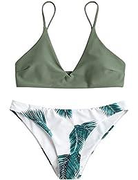 Zaful Bikini acolchado push-up para mujer con diseño de hojas