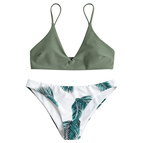 ZAFUL Damen Push Up Gepolsterter Bikini-Set Blatt Drucken Badehose Bademode Badeanzug Tarnung Grün M