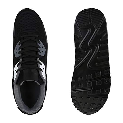 Herren Sportschuhe Laufschuhe Sneakers Runners Profilsohle Schwarz Weiss
