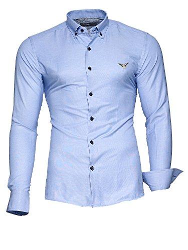 Kayhan Herren Hemd Modell Oxford Slim Fit Bügelleicht, Super Modern, Super Qualität Hellblau