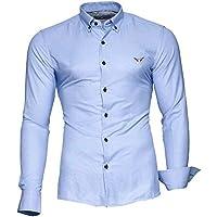 Kayhan Camicie Uomo Slim Fit Maniche Lunghe di ferro se