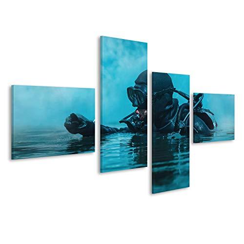 islandburner Bild Bilder auf Leinwand Navy Seal frogman mit komplettem Tauchausrüstung und Waffen im Wasser Wandbild, Poster, Leinwandbild FDL