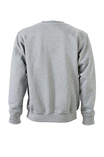 James & Nicholson Herren Workwear Sweat Sweatshirt Grau (Grey-Heather)