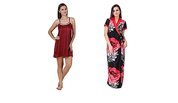 Nityakshi Women s Satin Maroon Nighty with Floral Robe Set ... d51008e38