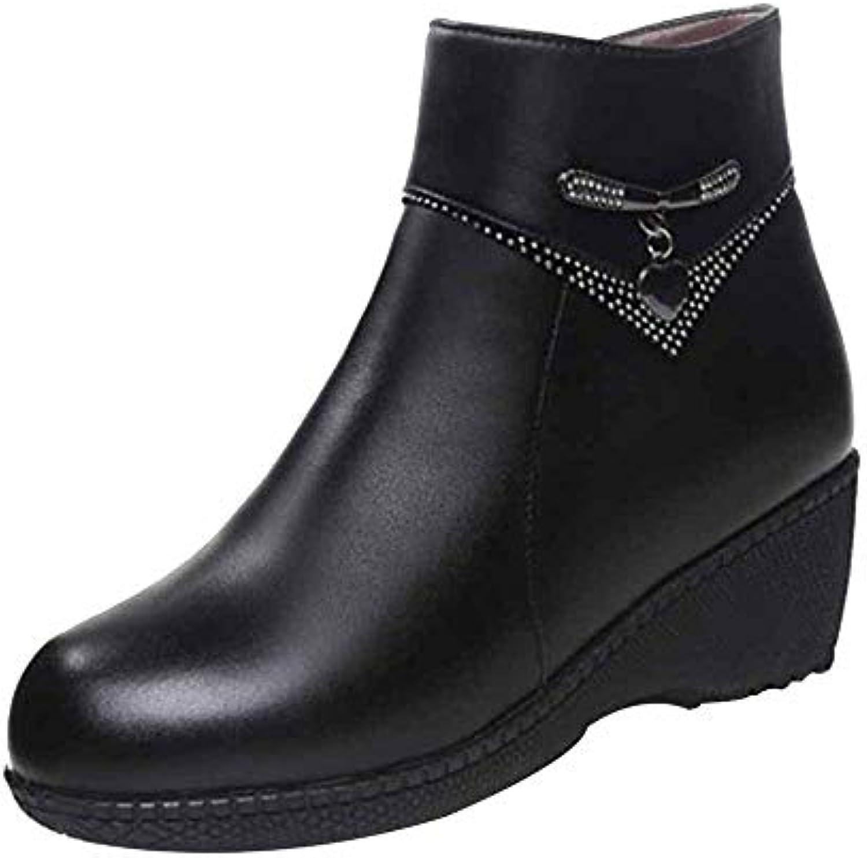 Miss Li Bottines En Cuir Chaussures Pour Femmes Chaussures Cuir Pour Hommes D'âge Moyen Laine Chaude Bottes Confortables Et Décontractées... a288e7