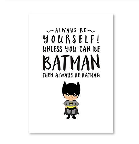 Cartoon Film Superhelden Leinwand Druck Poster Kunst Batman Superman Wand Bild Bilder Moderne Stil Kinder Zimmer Deco 40x50cm Ohne Rahmen h (Superman Wand-kunst)