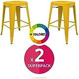 regalosMiguel - Pack de 2 Taburetes Industriales de Cocina Torix (Inspirado en la Línea Tolix) (amarillo)