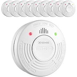 X-Sense SD10A Detector de Humo con Sensor Fotoeléctrico Alarma de Incendio con Batería de 10 Años de Duración Reinicio Automático Fácil Instalación - 10 Unidades