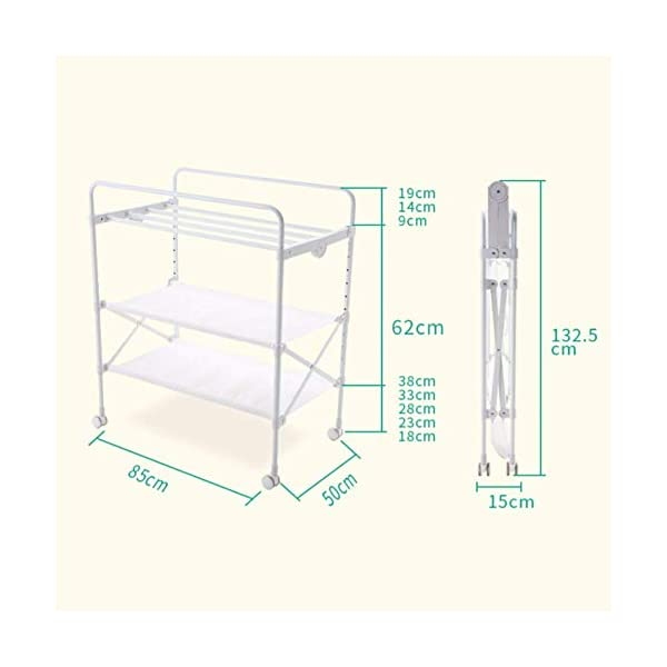 White Newborn Changing Table On Wheels, Baby Bathing Massage Baby Cot Foldable Changing Diapers Dresser with Pad GUYUE Two in one design- Baby changing table can be used as baby massaging table as well or dry your baby's small clothes, also can bathing. Iron tube paint + high quality plastic + polyester 3D mesh. Smooth mute caster. 2