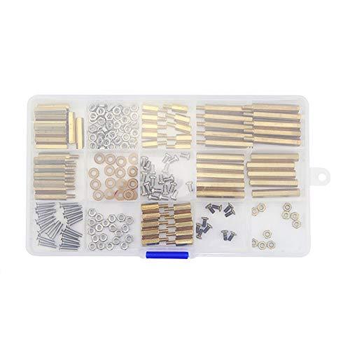 8Eninine 210 Teile/Satz männlich zu weiblich Messing PCB Standoff Schraube Mutter sortiment kit Set golden