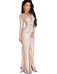 Blansdi Femmes Col V Profond Manches Longues Sparkling Sequin Paillette Robe Retour Zipper Bodycon Clubwear Sexy Maxi Jupe