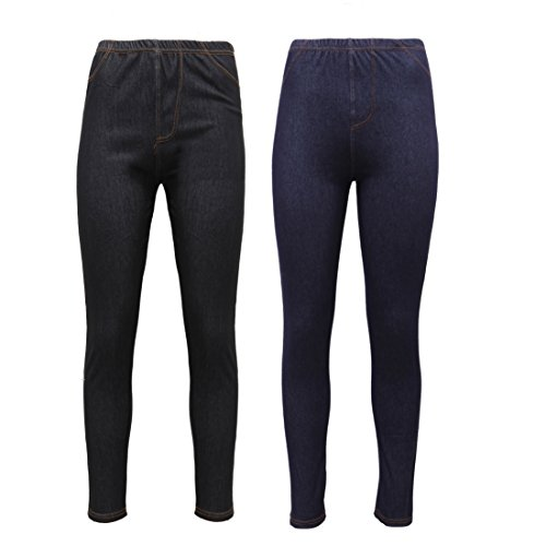 New Ladies Pack OF 2 Stretchy Denim Look Skinny Jeggings Leggings Plus Size 8-26 UK