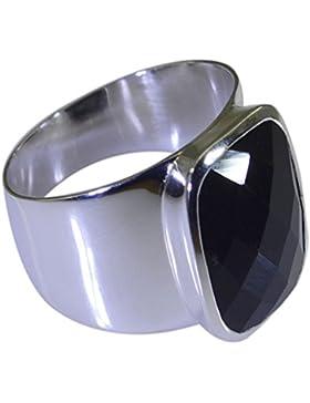 Natürliches Schwarz Onyx Sterling Silber Ring Quadratisch Form Chakra Heilung UK Z