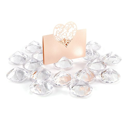 20x diamond crystal clear effect wedding table name place card holders favours events