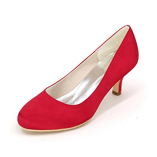 Ei&iLI Donne Tacchi bassi punta rotonda Pompe raso partito di sera Wedding Shoes EU35-EU42 Rose