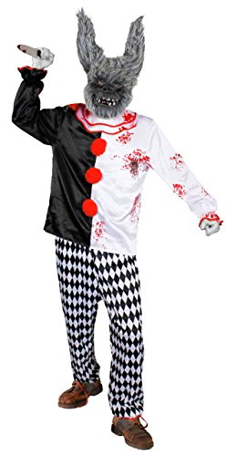 ILOVEFANCYDRESS Zirkus/Clown Prank Horror KOSTÜM VERKLEIDUNG Halloween Fasching Karneval MIT Grauer Hasen Maske + Plastik Messer =MEDIUM (Drama Kostüm Medium)