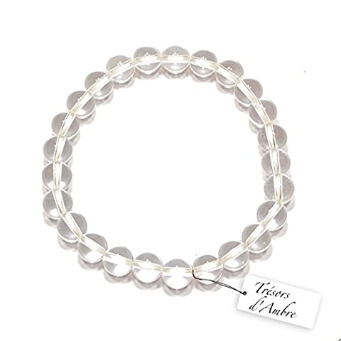 Bracelet boule en Cristal de Roche 8mm- Pierre Naturelle - Lithothérapie Reiki - Energie