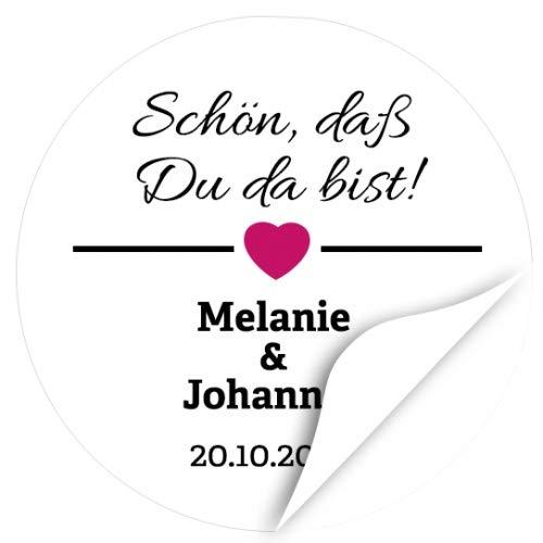 48 Design Etiketten zur Hochzeit personalisiert - Schön, daß Du da bist - Runde Aufkleber aus Papier mit Ihren Namen und Datum individuell