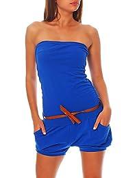 Malito Damen Einteiler kurz in Unifarben | Overall mit Gürtel | schicker Jumpsuit | Romper - Playsuit - Hosenanzug 8964