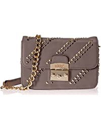 Nikky Women'S Studded Chain Strap Crossbody Shoulder Bag, Gray, One Size