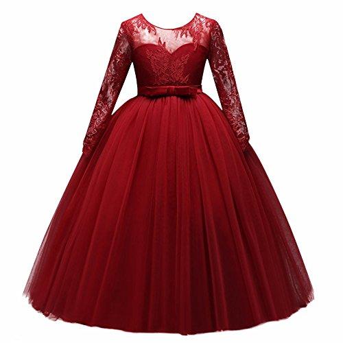 IBTOM CASTLE Mädchen Kinder Kleider Festlich Lang Brautjungfern Prinzessin Kleid Hochzeit Abendkleid Spitze Spleiß Lange Ärmel Karneval Party Kleid Blumenmädchenkleider Rot 9-10 Jahre