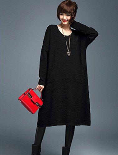 MatchLife Femme Pull-over Jumper Chandail Pull Robe Style12-Noir