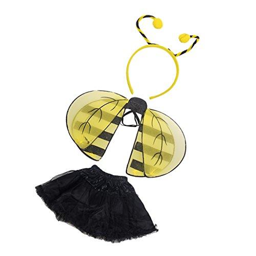 MagiDeal Halloween Mädchen Kinder Biene Kostüm Bienenkostüm Kostüme Set Fasching Karneval Party