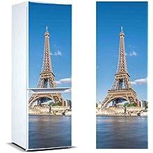 Pegatinas Vinilo para FrigorÍfico Torre Eiffel | Varias Medidas 185x60cm | Adhesivo Resistente y de Fácil Aplicación | Pegatina Adhesiva Decorativa de Diseño Elegante
