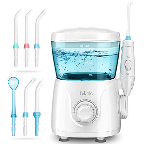 Idropulsore Dentale Professionale iTeknic Irrigatore Dentale Elettrico Irrigatore Orale con 7 Ugelli Intercambiabili, 10 Impostazioni di Velocità e Serbatoio 600ml per Pulizia Dentale Igiene Dentale