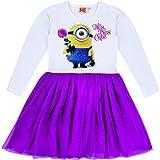 Minions - Kinder Jersey-Kleid mit Tüllrock Tres Tres Cute, weiß-pink, Gr. 110/116