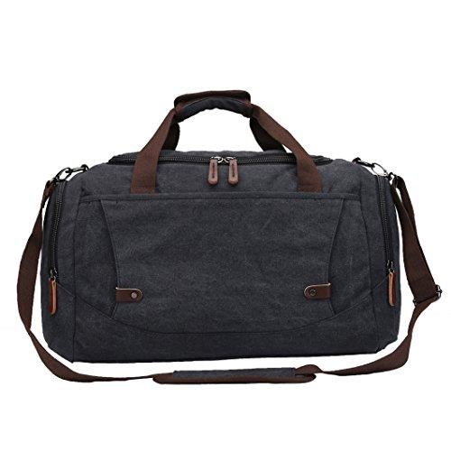 Weimi Canvas Reisetasche Weekender Tasche Handgepäck Vintage Reisetasche Tote Handtasche (Schwarz) (Weekender Tote Canvas)