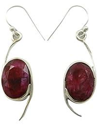 925 joyas de plata rubí piedra regalo del pendiente de la moda de trajes de novia para las mujeres