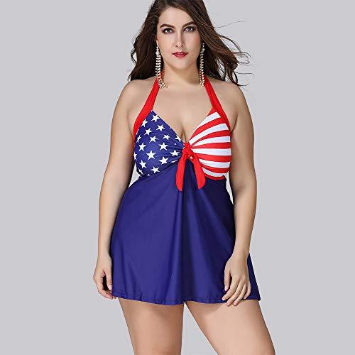 WYEING. Damen Halter Beach Gepolsterte Badehose Einteilig Kleid Briefs Anzug Bademode Hängender Hals Frauen Badeanzug Große Größen XL-5XL,3XL -