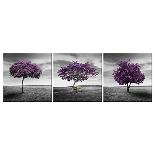 Wieco Art - 3 Piece Purple Trees Modern Stretched and Framed Landscape Artwork Giclee Canvas Prints Fall Forest Pictures Paintings on Canvas Wall art for Living Room Bedroom Home Office Decorations