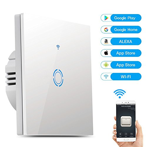 Wifi Lichtschalter Voice Control Schalter mit Fernbedienung Wandschalter Arbeitet mit Amazon Alexa und Google Home IOS/Android Timing Funktion Wasserdichter Wandschalter Smart Touch Schalter (1-Weg)